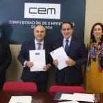 CEM y CaixaBank firman un acuerdo para fomentar la competitividad de las empresas malagueñas