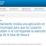 El Ayuntamiento instala una aplicación en la web municipal para que los usuarios comprueben si le corresponde la exención del pago de la tasa de basura